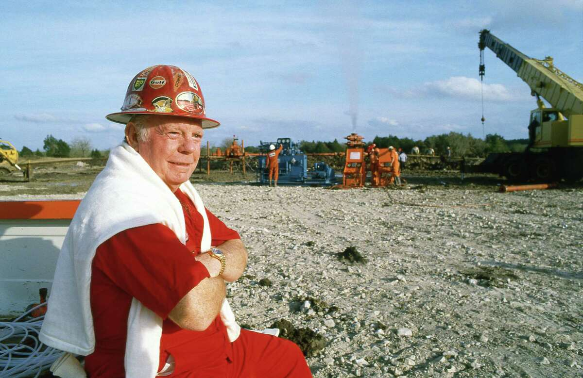 Red Adair at the scene of a gas well blow-out near Round Top he and his crew capped.