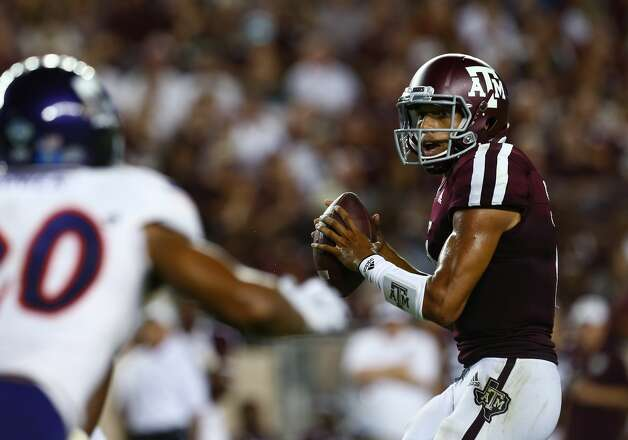 Texas A&M Aggies quarterback Kellen Mond (11) looks to throw against the Northwestern State defense during the second quarter of the NCAA game at Kyle Stadium Thursday, Aug. 30, 2018, in College Station, Texas. Photo: Godofredo A. Vasquez/Staff Photographer