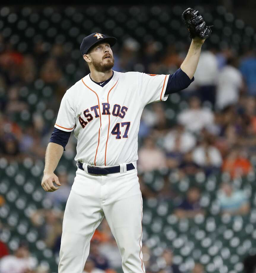 Houston Astros relief pitcher Chris Devenski (47) between pitches during the eighth inning of an MLB baseball game at Minute Maid Park, Thursday,  August 30, 2018, in Houston. Photo: Karen Warren/Staff Photographer