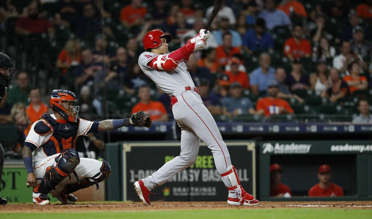 Los Angeles Angels Shohei Ohtani (17) hits a single during the eighth inning of an MLB baseball game at Minute Maid Park, Thursday, August 30, 2018, in Houston.