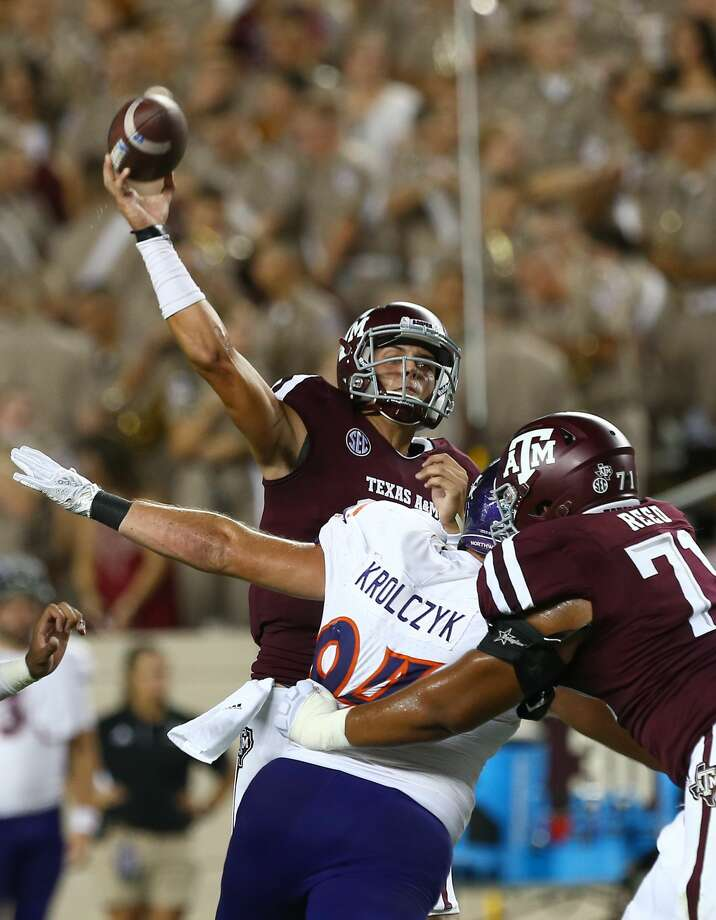 Texas A&M Aggies quarterback Nick Starkel (17) throws the ball against the Northwestern State Demons during the third quarter at Kyle Stadium Thursday, Aug. 30, 2018, in College Station, Texas. Photo: Godofredo A. Vasquez/Staff Photographer