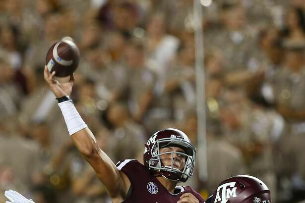 Texas A&M Aggies quarterback Nick Starkel (17) throws the ball against the Northwestern State Demons during the third quarter at Kyle Stadium Thursday, Aug. 30, 2018, in College Station, Texas.