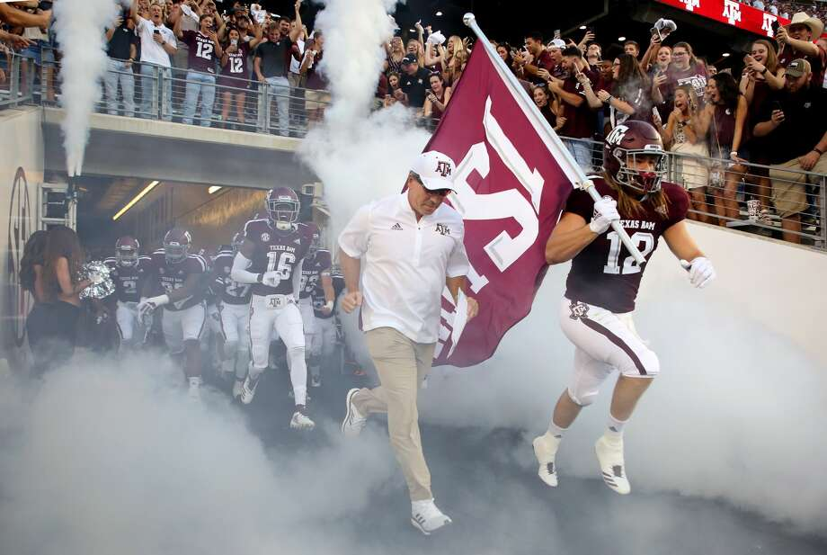 Texas A&M Aggies head coach Jimbo Fisher leads the team on the field for the start of the NCAA game against the Northwestern State Demons at Kyle Field Thursday, Aug. 30, 2018, in College Station, Texas. Photo: Godofredo A. Vasquez/Staff Photographer