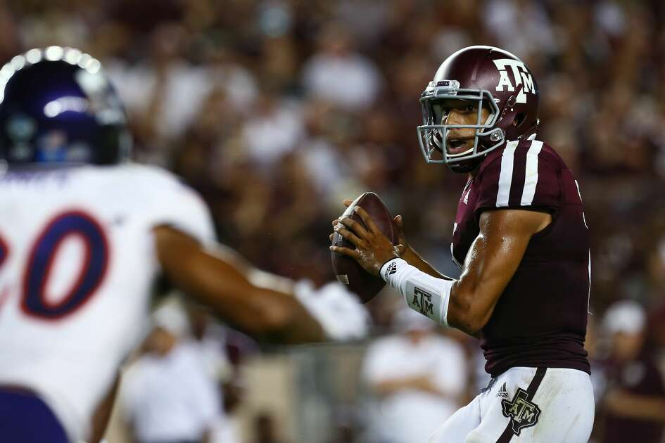 Texas A&M Aggies quarterback Kellen Mond (11) looks to throw against the Northwestern State defense during the second quarter of the NCAA game at Kyle Field Thursday, Aug. 30, 2018, in College Station, Texas.