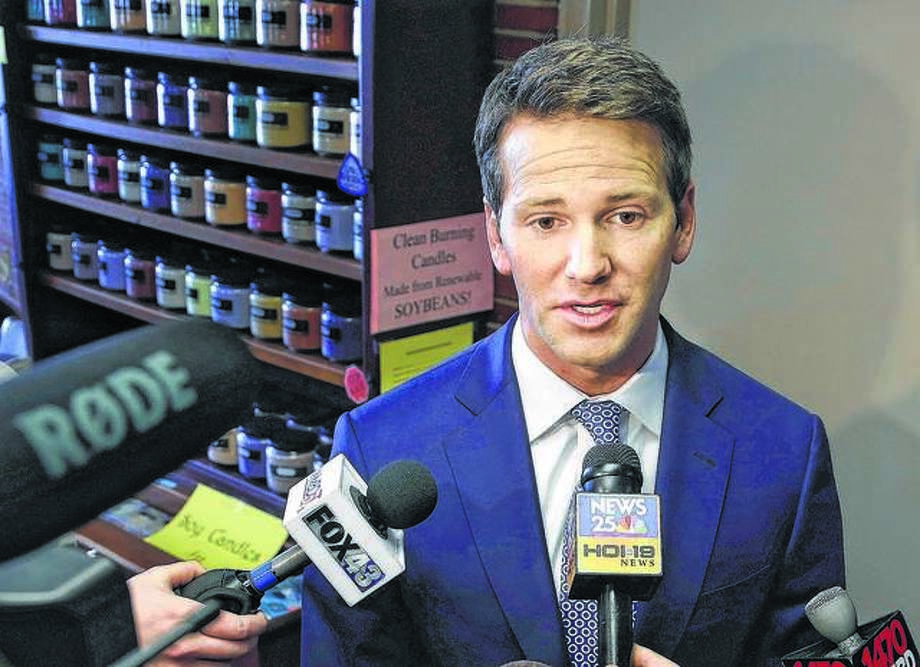 Former U.S. Rep. Aaron Schock speaks to reporters in 2015. Photo: Seth Perlman | AP