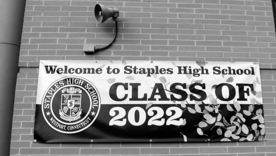 A class of 2022 poster greeted first-year students at Staples High School in Westport on Monday. Photo: Sophie Vaughan / Hearst Connecticut Media / Westport News