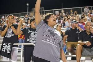 Loyal Churchill and Clark fans cheered through the first-week gridiron clash known as the Gucci Bowl on Thursday, Aug. 30, 2018, at Comalander Stadium. After a 45-minute delay when the lights went out, Churchill came through with a big fourth quarter to rally past Clark 28-21.