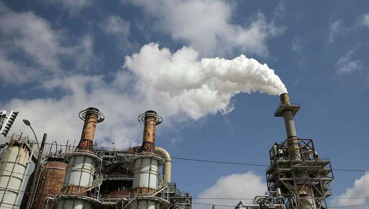 Steam is released out of the Valero Refinery on Thursday, March 29, 2018, in Houston. ( Elizabeth Conley / Houston Chronicle )