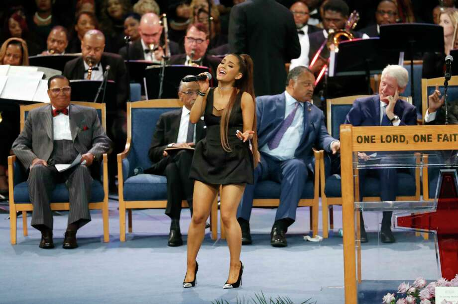 PHOTOS: Ariana Grande at Aretha Franklin's funeralAriana Grande performs during the funeral service for Aretha Franklin at Greater Grace Temple, Friday, Aug. 31, 2018, in Detroit.>>See Twitter's response to the pop star's attire ...