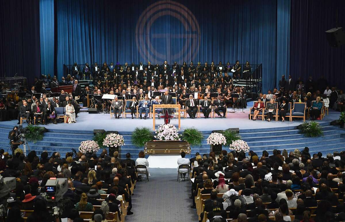Mourners attend Aretha Franklin's funeral at Greater Grace Temple on August 31, 2018 in Detroit, Michigan. (Photo by Angela Weiss / AFP)ANGELA WEISS/AFP/Getty Images