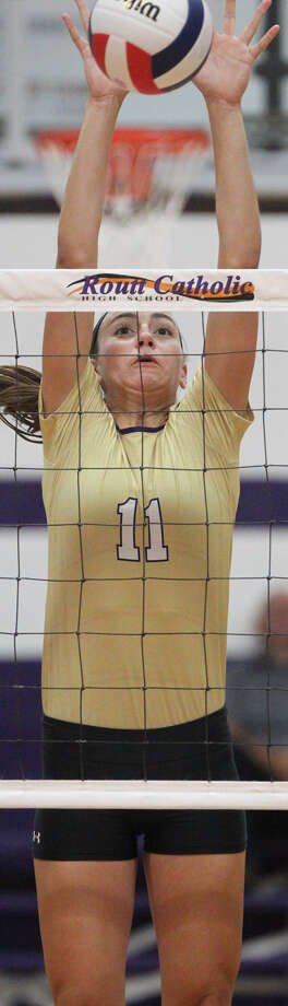 Routt's Annika Black reaches up for a block during a match against Pleasant Hill last week at the Routt Dome. Photo: Dennis Mathes