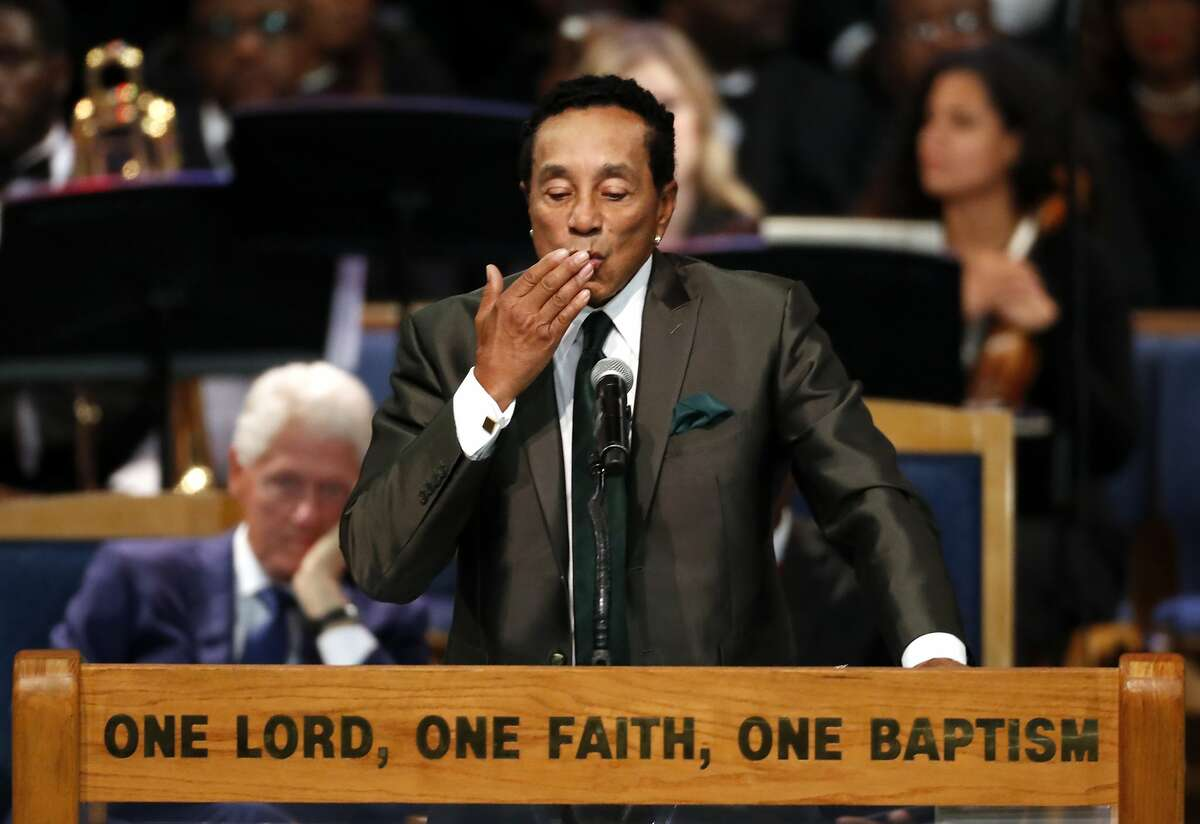 Smokey Robinson blows a kiss during the funeral service for Aretha Franklin at Greater Grace Temple, Friday, Aug. 31, 2018, in Detroit. Franklin died Aug. 16, 2018 of pancreatic cancer at the age of 76. (AP Photo/Paul Sancya)