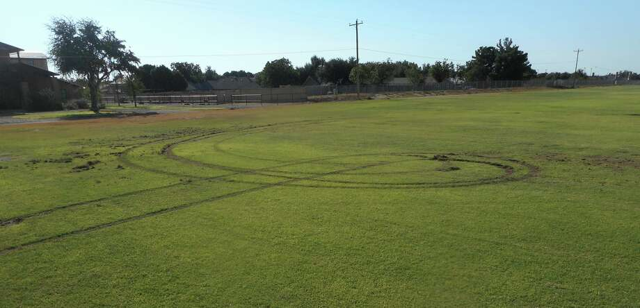 "A small-sized pickup entered the property at the 5500 block of Polo Club Road at about 3 a.m. on Aug. 25.  Once on the field, the suspect began to do ""donuts"" on the field causing approximately $30,000 worth of damage.   Photo: Midland Crime Stoppers"
