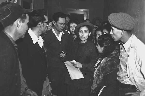 """In honor of Labor Day, Urban-15 is devoting the latest installment in its Hidden Histories film series to the work experience in San Antonio. It will include a discussion with filmmaker Anne Lewis about """"A Strike and an Uprising (in Texas),"""" her documentary about the pecan strike led by Emma Tenayuca (pictured, center) in 1938 and the Jobs with Justice March in 1987. The evening will include excerpts from the film, which will be screened at Urban-15 on Sept. 7. 7 p.m. Monday, Urban-15, 2500 S. Presa. Free. Watch online at urban15.org/live-stream. Deborah Martin"""