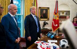 President Donald Trump delivers remarks about Google during a meeting with Gianni Infantino, president of FIFA, in the Oval Office of the White House in Washington, Aug. 27, 2018. President Trump attacked Google on Tuesday for what he claimed was an effort to intentionally suppress conservative views supportive of his administration. (Doug Mills/The New York Times)