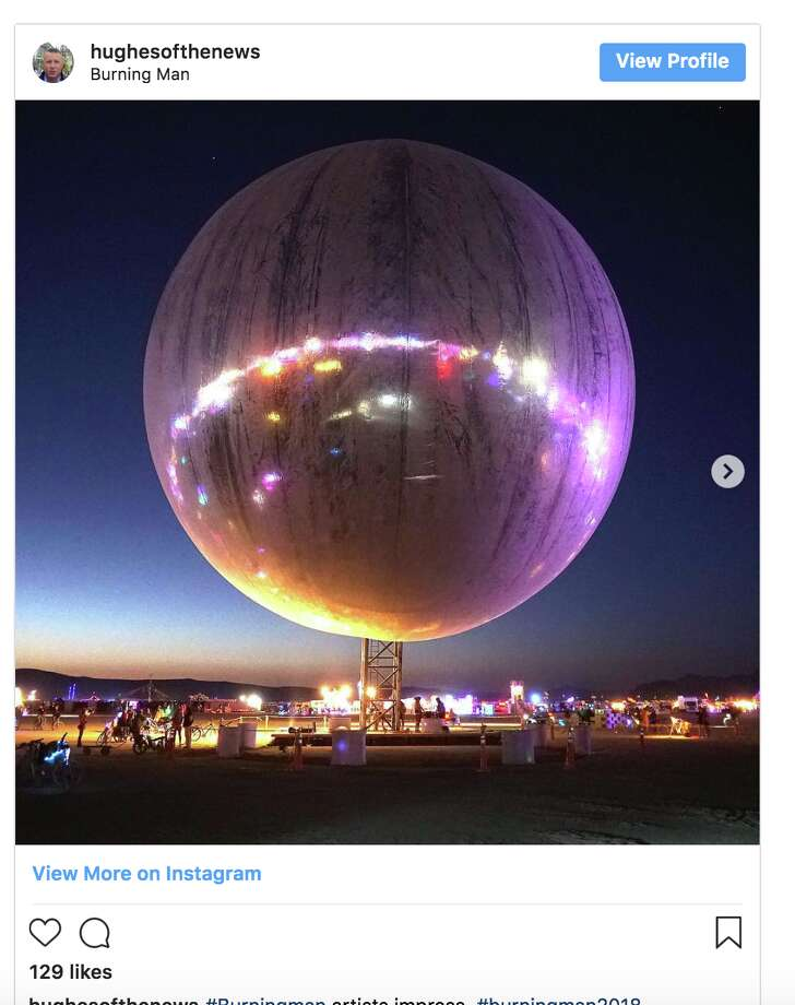 A giant inflatable metallic sphere is making a splash at Burning Man 2018. Photo: Twitter Screen Grab