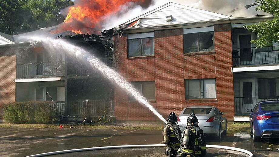A condo complex in Stratford caught on fire on Wednesday. Photo: Contributed Photo / Bridgeport Fire Department / Contributed Photo / Connecticut Post Contributed