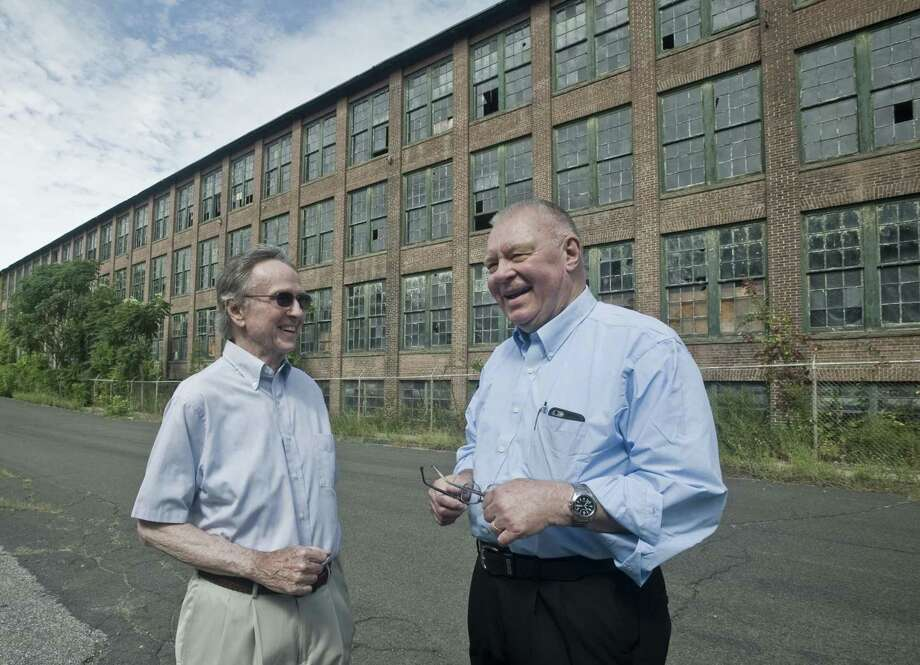Former Redding selectmen, Donald Takacs and Leon Karvelis, are encouraging the current selectmen to take over the old Gilbert and Bennett wire mill property, so it can be used to generate solar power and offer recreation. Friday, Aug. 31, 2018 Photo: Scott Mullin / For Hearst Connecticut Media / The News-Times Freelance