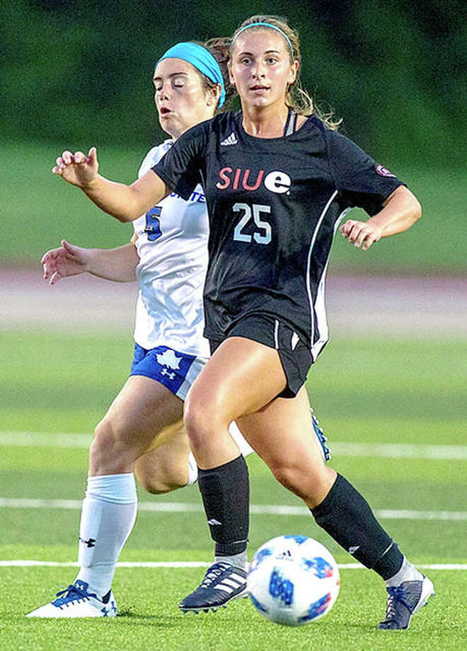 Ashlin West of SIUE scored the first goal of her team's victory over Chicago state Friday in Chicago. West is a sophomore from Edwardsville High school. She is a transfer from Illinois-Chicago. Photo: SIUE Athletics