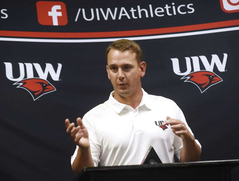 First-year head coach Eric Morris speaks during UIW Cardinals football media day at the Benson Field House on Tuesday, Aug. 7, 2018. Photo: Billy Calzada, Staff / Staff Photographer / Billy Calzada