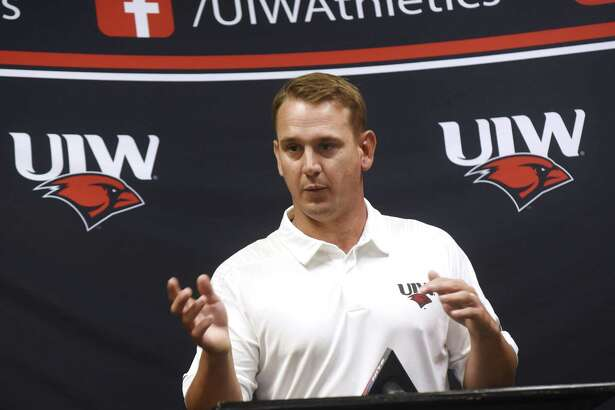 First-year head coach Eric Morris speaks during UIW Cardinals football media day at the Benson Field House on Tuesday, Aug. 7, 2018.