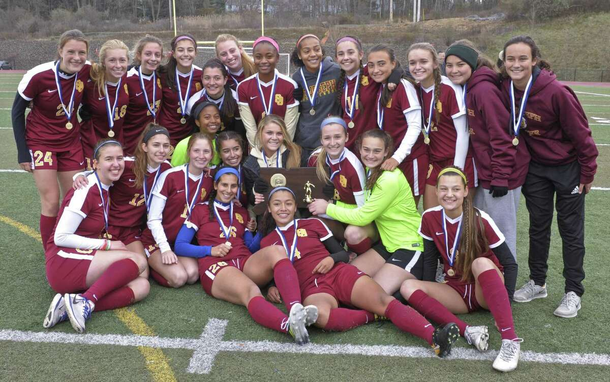 The Girls Soccer Class L championship game between St. Joseph and RHAM high schools on Saturday morning, November 18, 2017, at Middletown High School, in Middletown, Conn.