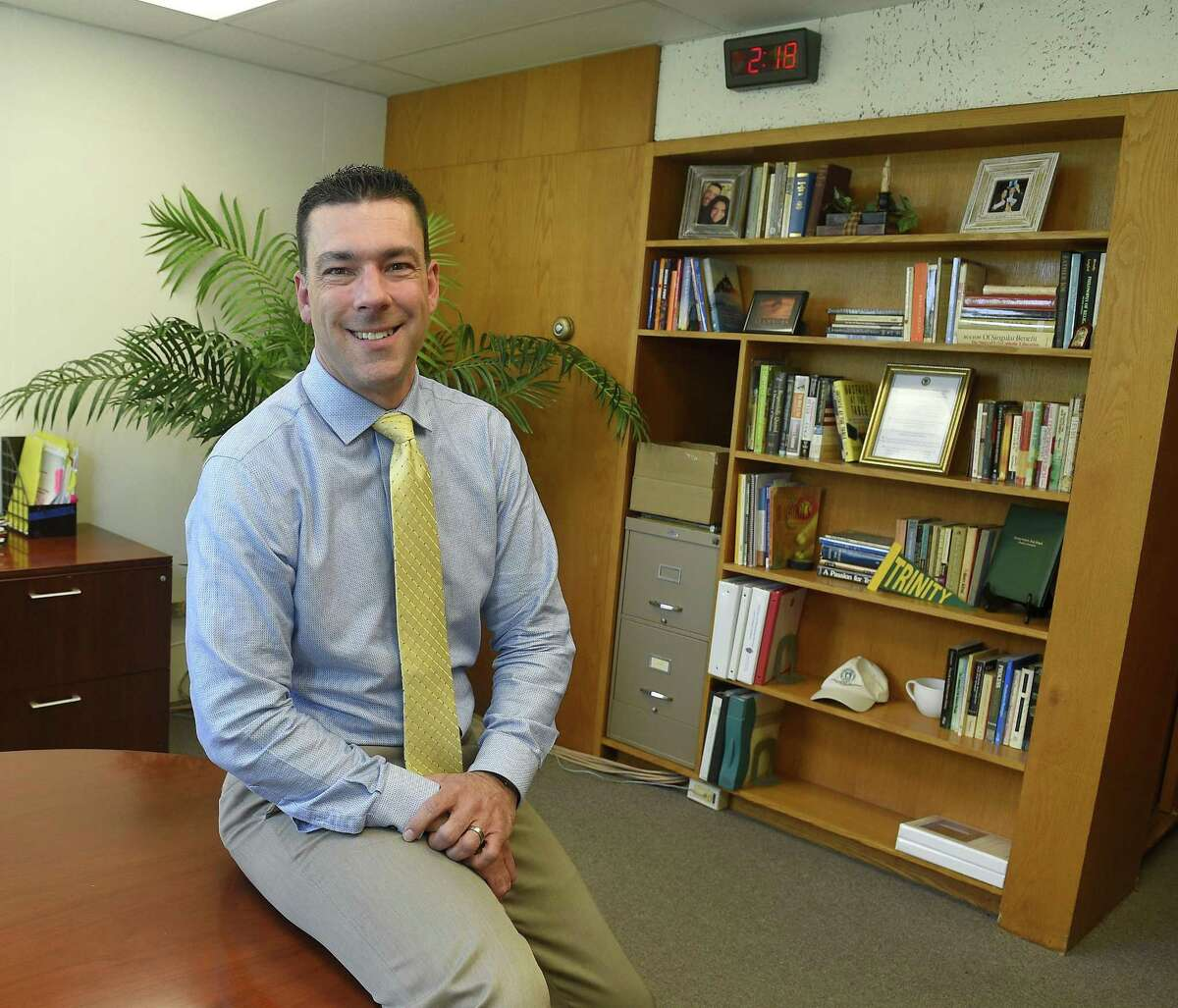 Scott Smith, Trinity Catholic High School New Principal is photograph on August 24, 2018 at the school in Stamford, Connecticut.