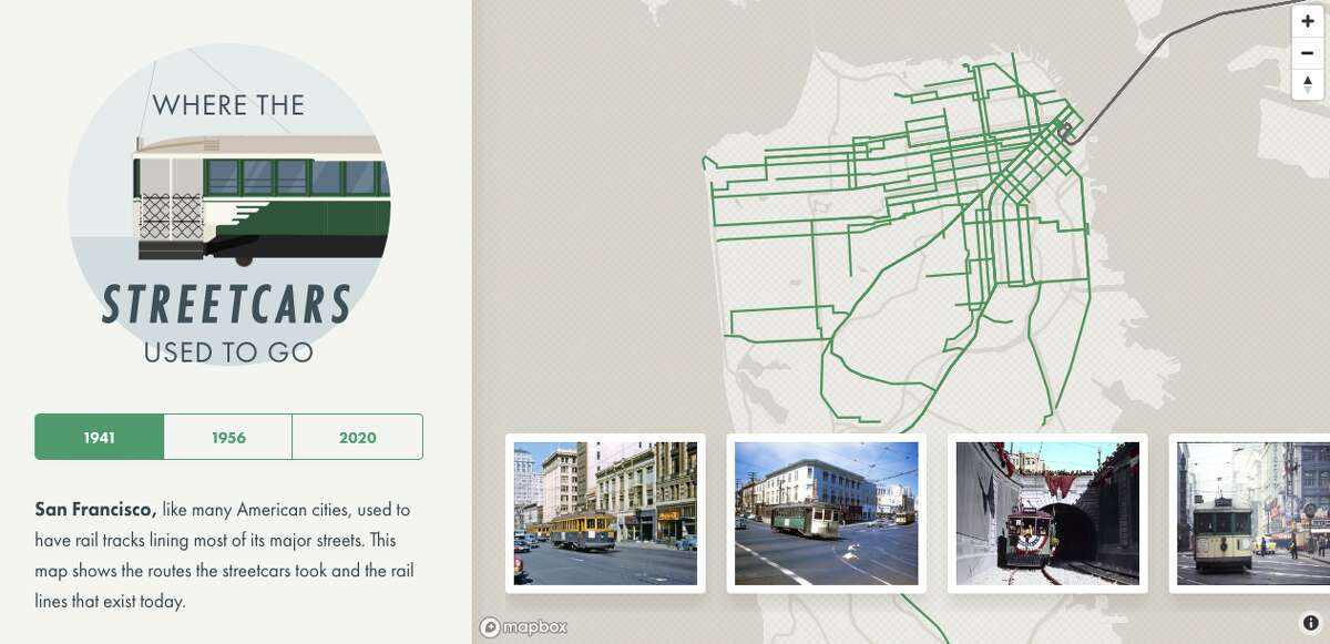 San Francisco resident Chris Arvin made an interactive map of SF's old streetcar system, a screenshot of which can be seen here, in 2016.