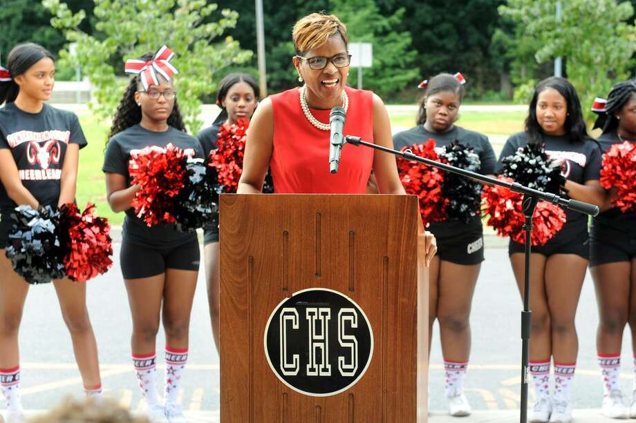 Superintendent of Schools Aresta Johnson speaks at the ribbon cutting ceremony for the newly renovated Central High School, in Bridgeport, Conn. Aug. 31, 2018. Photo: Ned Gerard / Hearst Connecticut Media / Connecticut Post