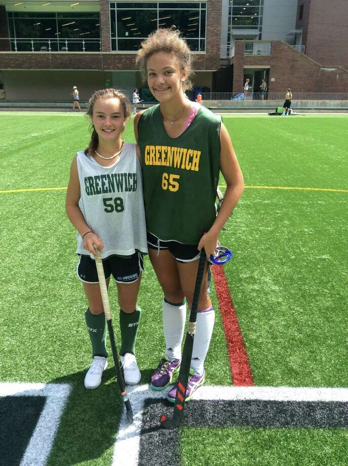 Grace Schulze, left, and Maya Walker are junior captains on the Greenwich Academy field hockey team. Photo: David Fierro / Hearst Connecticut Media / Greenwich Time Contributed