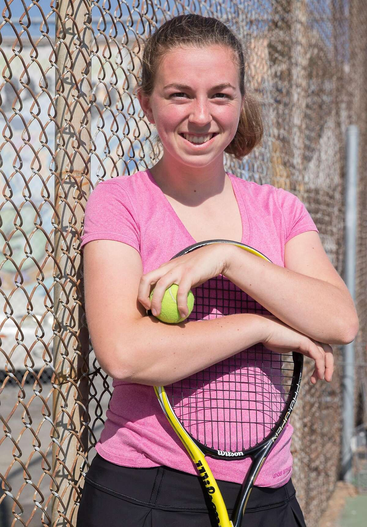 Oakland Tech student and tennis player poses for a portrait during practice at Oakland Tech in Oakland, Calif. Thursday, Aug. 30, 2018.