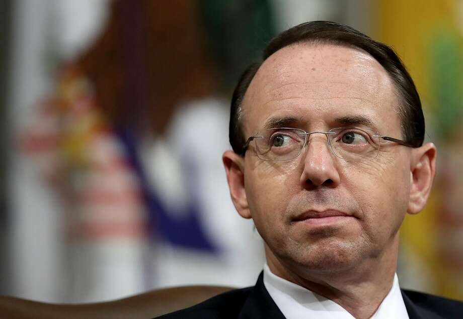 WASHINGTON, DC - JULY 30:  Deputy Attorney General Rod Rosenstein attends the Religious Liberty Summit at the Department of Justice July 30, 2018 in Washington, DC. Rosenstein has recently been cited by the House Freedom caucus as a potential impeachment Photo: Win McNamee, Getty Images