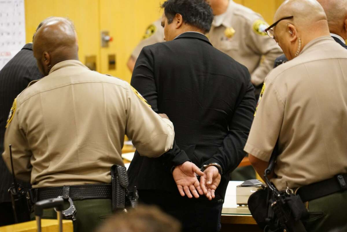 Gurbaksh Chahal is led away Friday from San Francisco Superior Court in handcuffs after a two-year effort to appeal a probation violation ruling in a domestic violence case.