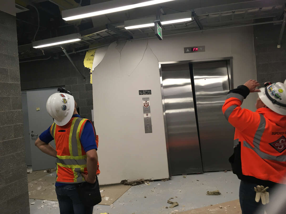 Pressurized air forced open a door in the north operations building of the SR 99 tunnel during a test Thursday night. No structural damage or injuries occurred.