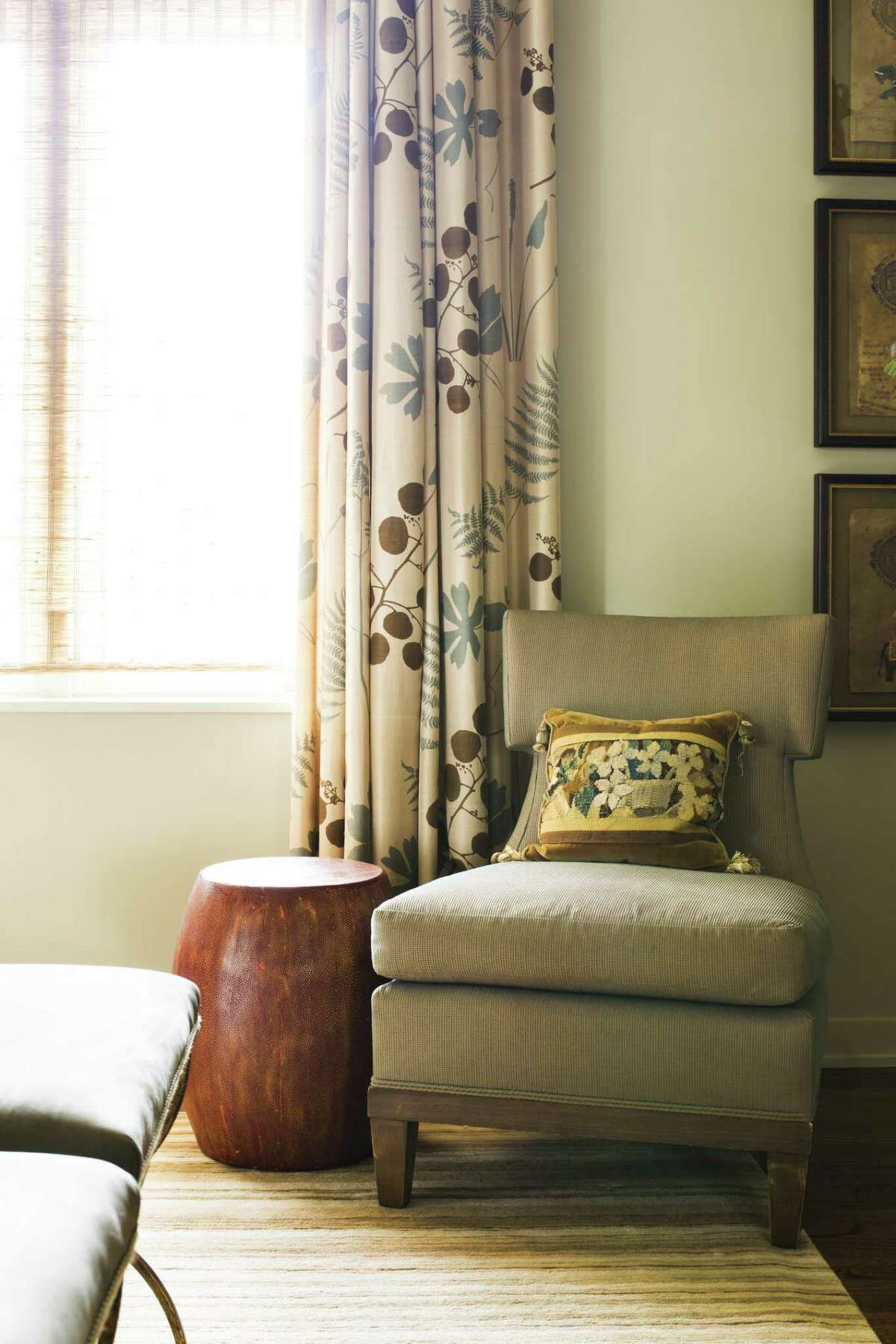 Trends in draperies are getting more interesting, says Linda Eyles of Linda Eyles Design. They're not just white panels meant to invisibly soften a room, many people are opting for draperies with patterns or bolder colors.