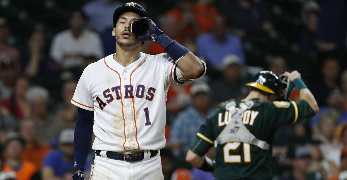 PHOTOS: Astros game-by-game Houston Astros Carlos Correa (1) reacts after striking out during the eighth inning of an MLB baseball game at Minute Maid Park, Tuesday, August 28, 2018, in Houston. Browse through the photos to see how the Astros have fared in each game this season.