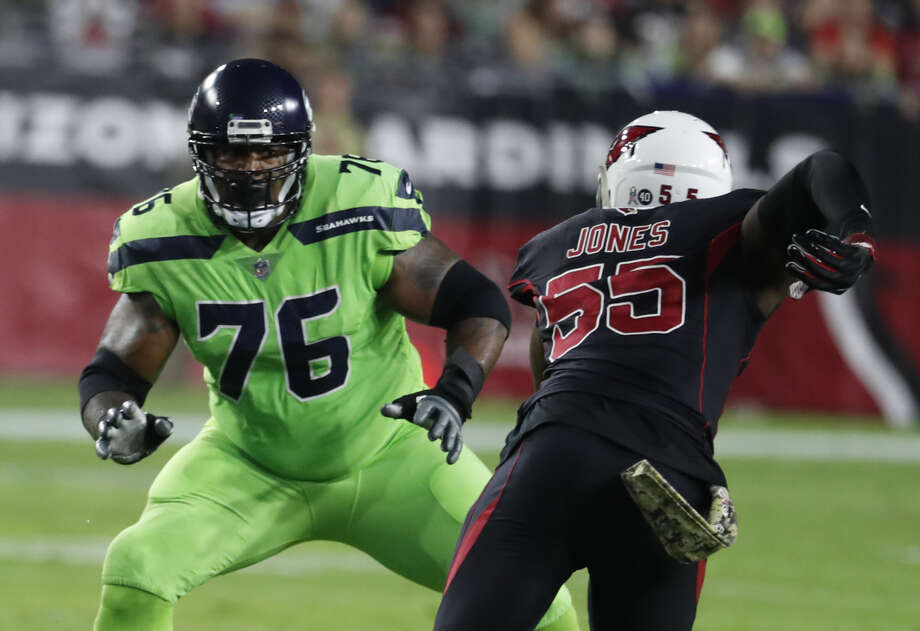 Seahawks left tackle Duane Brown was named a second-team All-Pro by The Associated Press.  Photo: Rick Scuteri/Associated Press