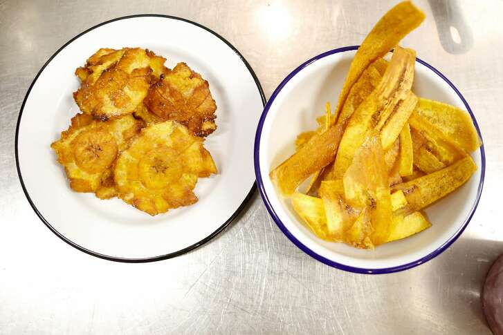 Tostones (left) and fried plantain chips at Isla Vida on Fillmore Street in San Francisco, on Friday, August 31, 2018 in San Francisco, Calif.