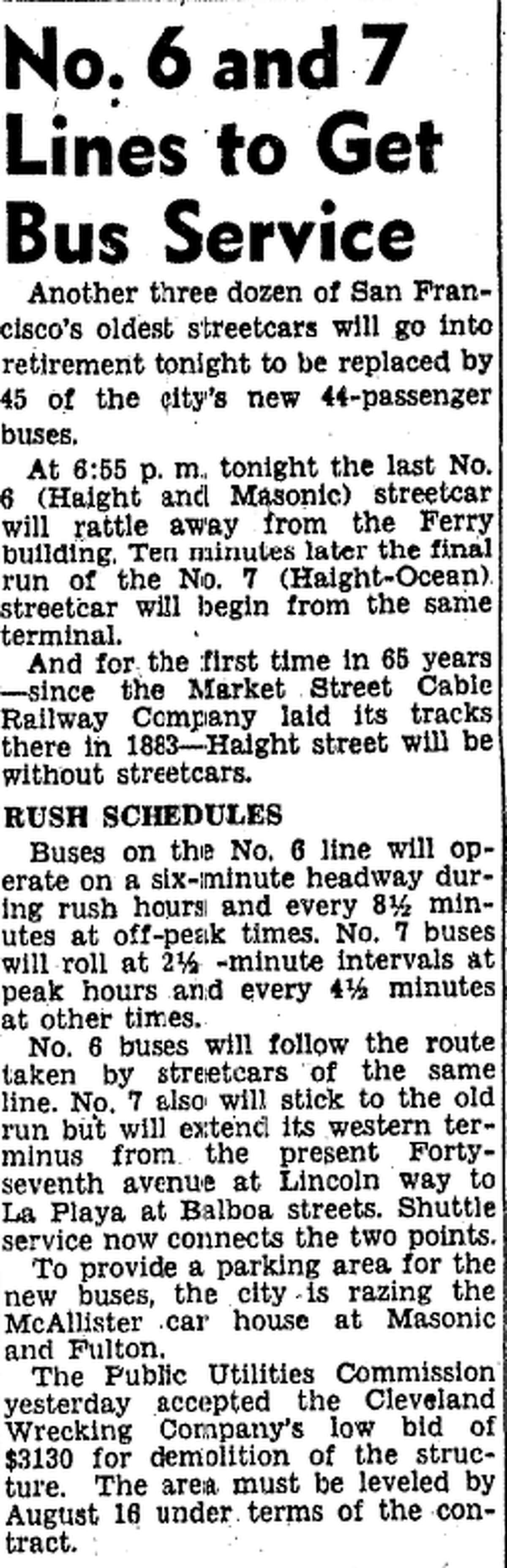 An old San Francisco Chronicle clipping from 1948 hails the conversion the No. 6 and No. 7 streetcar lines into bus lines.
