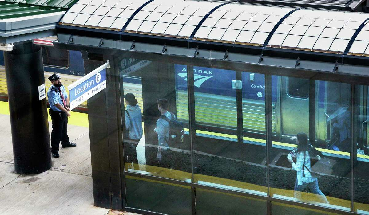 Passengers board the Empire Service train to NYC at the Albany-Rensselaer Amtrak Station Friday August 31, 2018 in Rensselaer, NY. (John Carl D'Annibale/Times Union)