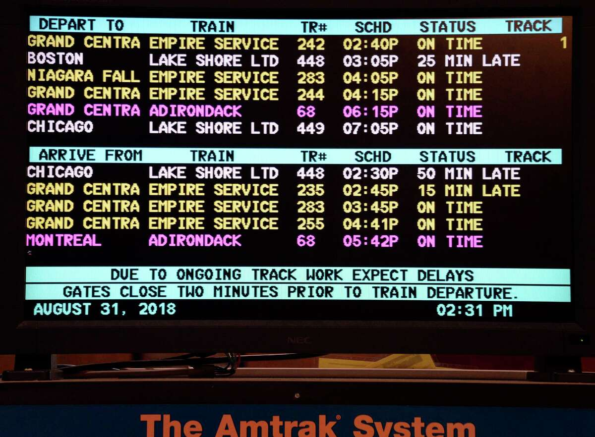 Arrival and departure board at the Albany-Rensselaer Amtrak Station Friday August 31, 2018 in Rensselaer, NY. (John Carl D'Annibale/Times Union)