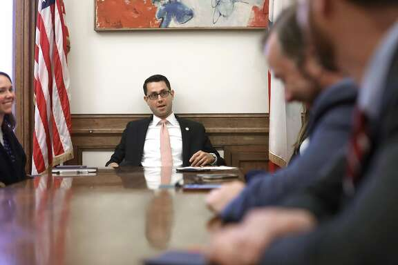 Chief of staff Jason Elliott seen before he starts a staff meeting on Wednesday, Aug. 22, 2018 in San Francisco, Calif.