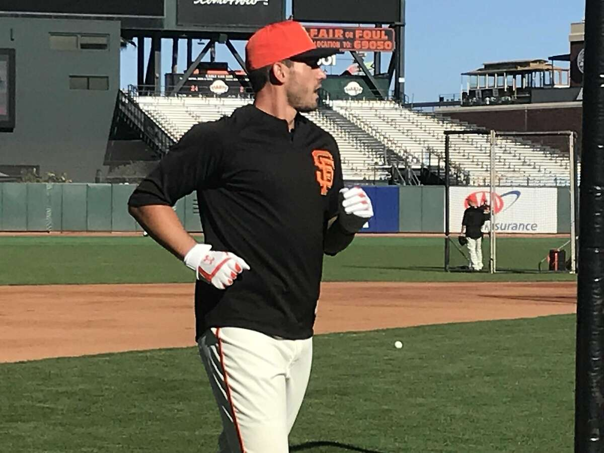 The Giants' Chris Shaw at Oracle Park before his 2018 big-league debut.