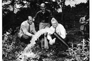 The man on theright in this 1949photo is Harold G. Veeder, who developed Hampton Manor in East Greenbush, N.Y. He died in August of 1970 and is buried in Vale Cemetery. Veeder is show with theclean spring water that was a selling point. Sept. 5, 2018 the Manor switches to town water to improve its quality.