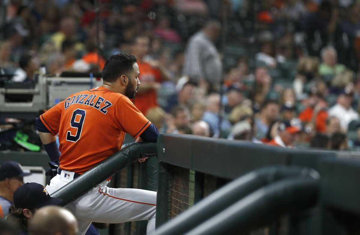 Houston Astros Marwin Gonzalez (9) continues to glare at home plate umpire Eric Cooper after the fourth inning of an MLB baseball game at Minute Maid Park, Friday, August 31, 2018, in Houston.