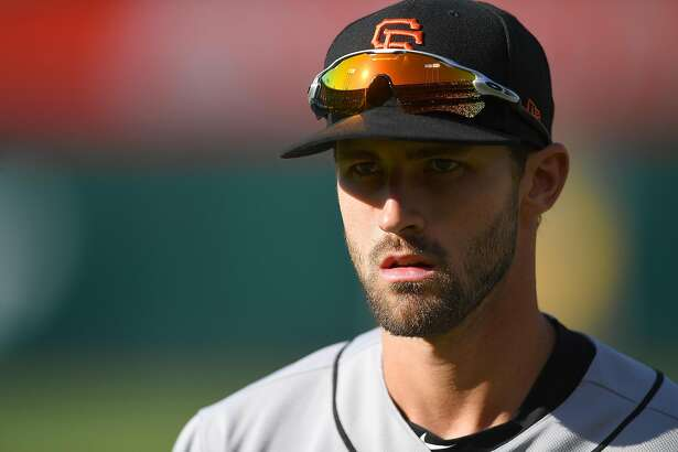 OAKLAND, CA - JULY 21: Steven Duggar #6 of the San Francisco Giants looks on prior to the start of the game against the Oakland Athletics at the Oakland Alameda Coliseum on July 21, 2018 in Oakland, California. ~~