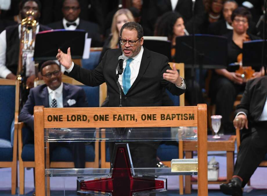 Sociology professor Michael Eric Dyson speaks at Aretha Franklin's funeral at Greater Grace Temple on August 31, 2018 in Detroit, Michigan. (Photo by Angela Weiss / AFP)        (Photo credit should read ANGELA WEISS/AFP/Getty Images) Photo: ANGELA WEISS/AFP/Getty Images