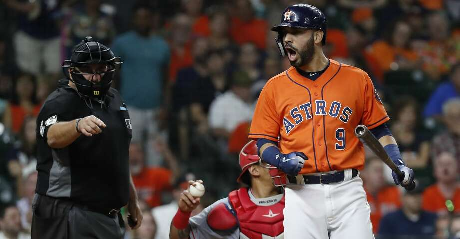 Houston Astros Marwin Gonzalez (9) is angry over a called strike during the fourth inning of an MLB baseball game at Minute Maid Park, Friday, August 31, 2018, in Houston. Photo: Karen Warren/Staff Photographer