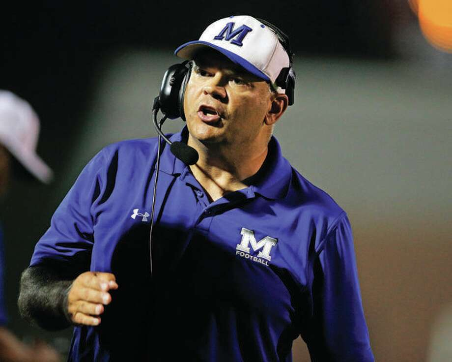 Marquette Catholic coach Darrell Angleton's Explorers fell to Breese Mater Dei 50-14 Friday at Public School Stadium. Photo: Telegraph File Photo