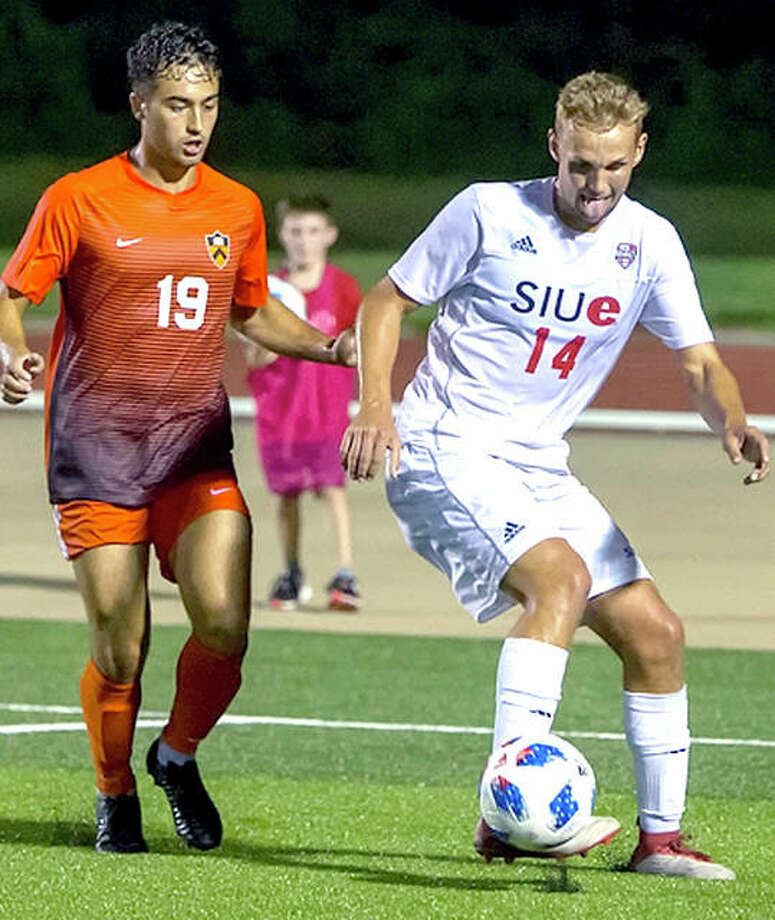 SIUE's Joergen Pettersen (14) is marked by Princeton's Cole Morokhovich Friday at Korte Stadium. Pettersen scored the only goal of the game in SIUE's 1-0 victory. Photo: SIUE Athletics